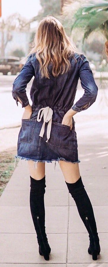 blue denim long-sleeved dress with high long boots. Pic originally posted by manic.style #Spring #Outfits