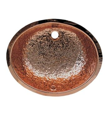 """Whitehaus 18 1/2"""" Oval Hammered Textured Undermount Basin w/ Overflow and Polished Rose Gold Finish"""