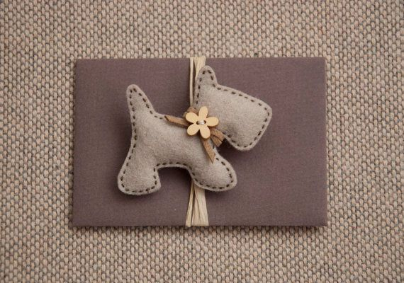 Little puppy felt brooch with a wooden flower button by suyika