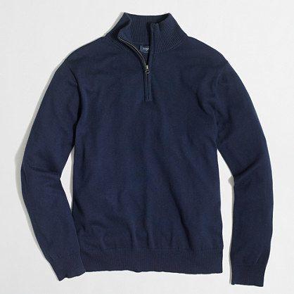 Slim harbor cotton half-zip sweater
