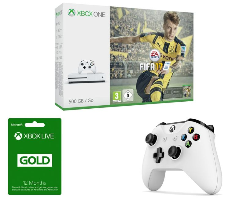 MICROSOFT  Xbox One S, FIFA 17, Xbox Wireless Controller & Xbox Live Gold 12 Month Subscription Bundle, Gold Price: £ 315.00 You'll be able to take to the football field with the Microsoft Xbox One S, FIFA 17, Xbox Wireless Controller & Xbox Live Gold 12 Month Subscription Bundle . _____________________________________________________________ Microsoft Xbox One S with FIFA 17 The Xbox One S...