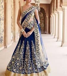 Buy BLUE embroidered net unstitched bridal-lehengas bridal-lehenga online