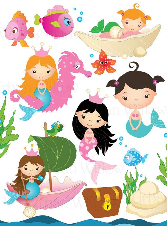 MERMAID GARDEN  Clip art set in premium by LittlePumpkinsPix