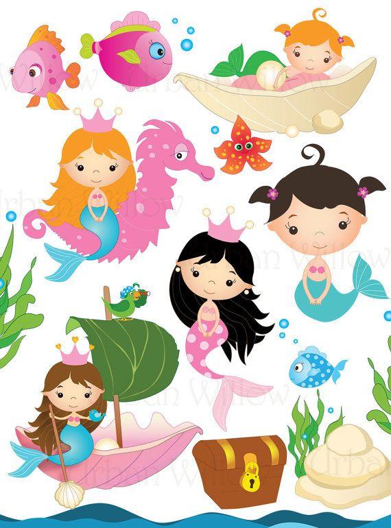MERMAID GARDEN  Clip art set in premium by LittlePumpkinsPix