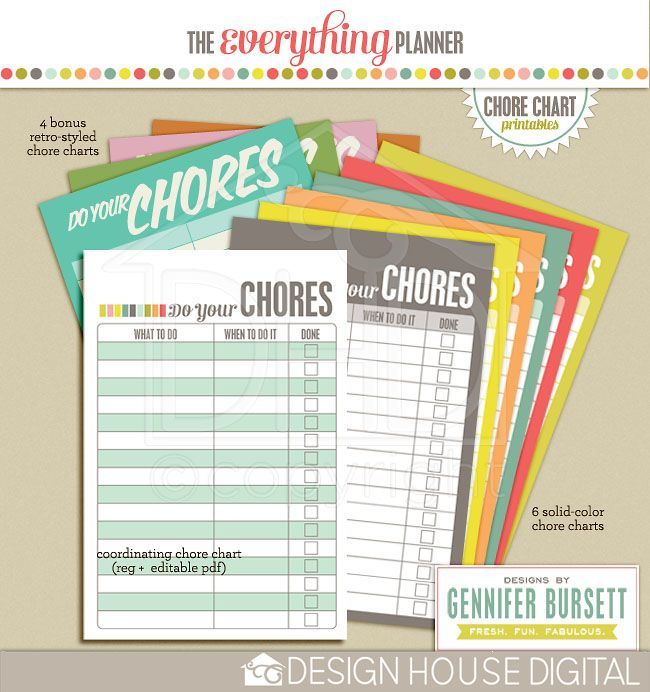 Brought To You By The Letter B: Free Digital Download - Chore Charts