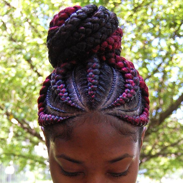"63 Likes, 15 Comments - A S H L E Y  M.  S P A R R O W (@ashleymsparrow_) on Instagram: ""Burgundy and Black Ghana Braid Ponytail!  Hair by Ashley M. Sparrow  #ghanabraids #goddessbraids…"""