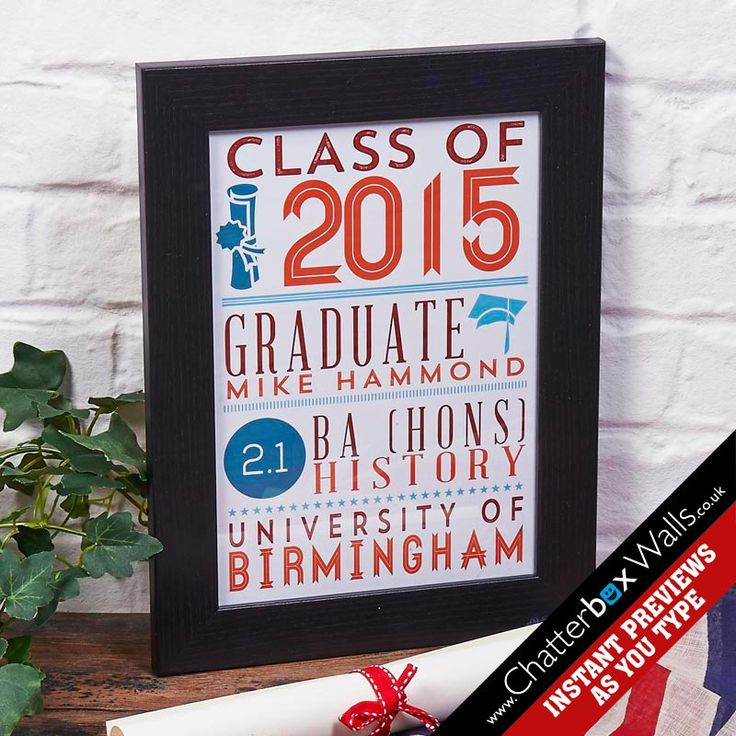 Personalised Graduate Framed Word Art Print