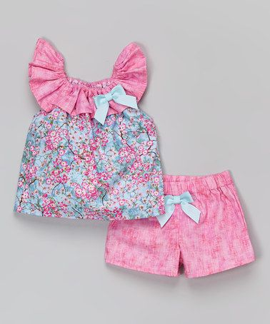 Love this Pink Cherry Blossom Top & Shorts - Infant & Toddler by Caught Ya Lookin' on #zulily! #zulilyfinds