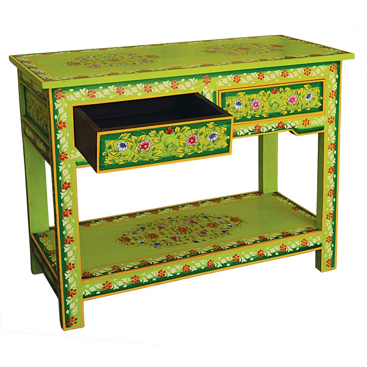 Green Hand Painted Console Table By Karma Living. Omg I Looooove This