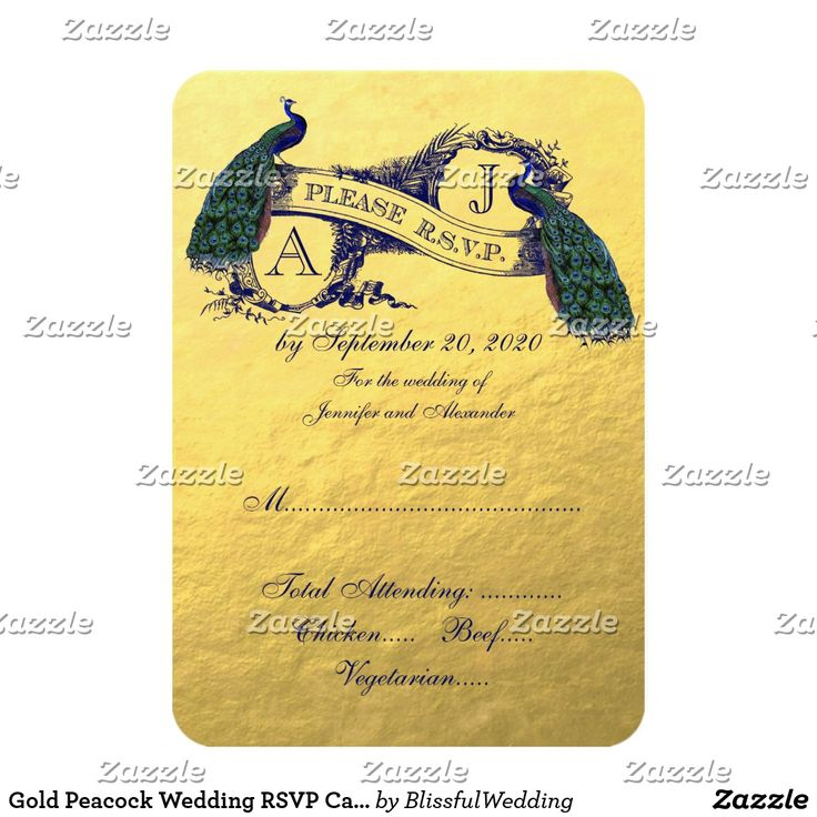 Gold Peacock Wedding RSVP Card Have your guests respond to your wedding invitation with these beautiful vintage peacock wedding RSVP Cards. Elke Clarke© for BlissfulWedding at Zazzle. Perfect for a romantic wedding or a peacock wedding. This unique design with Two Beautiful Peacocks on Vintage Banner and text in a dark blue font all on a printed gold foil photo effect background, create a unique, stylish wedding reply card.