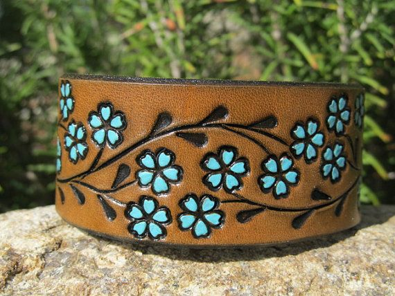 Hand Painted Tooled Leather Cuff Bracelet - Wide - Brown and Turquoise Floral Vine - Women and Girls - Snap  .....Hey...I remember them in the 60s!