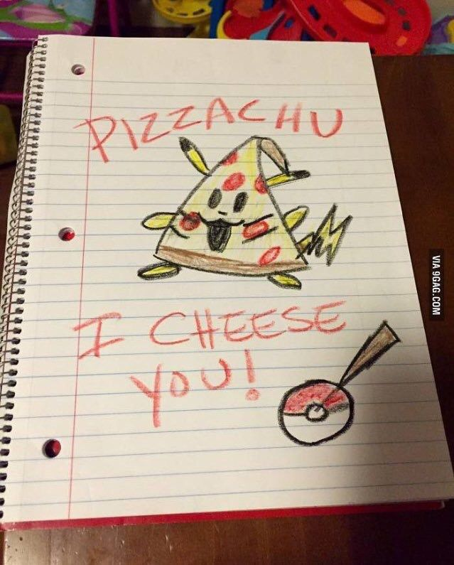 Pizza and pikachu funny drawing