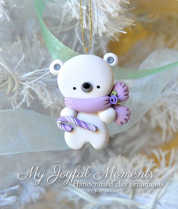 Handcrafted Polymer Clay Polar Bear Ornament