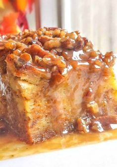 Pumpkin Praline Bread Pudding makes a fabulous fall or Thanksgiving dessert. ~ http://FlavorMosaic.com