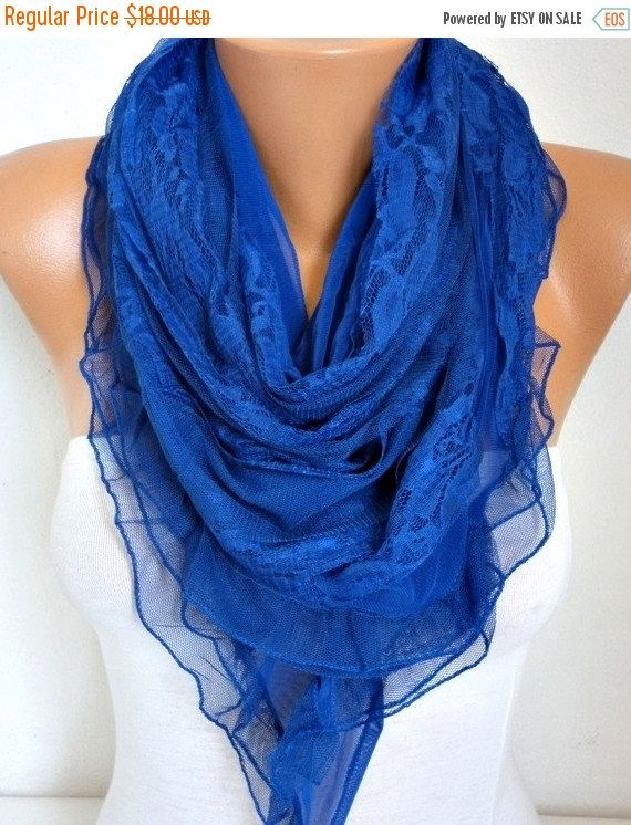 Royal Blue Lace Scarf #Shawl #scarf #scarves by fatwoman