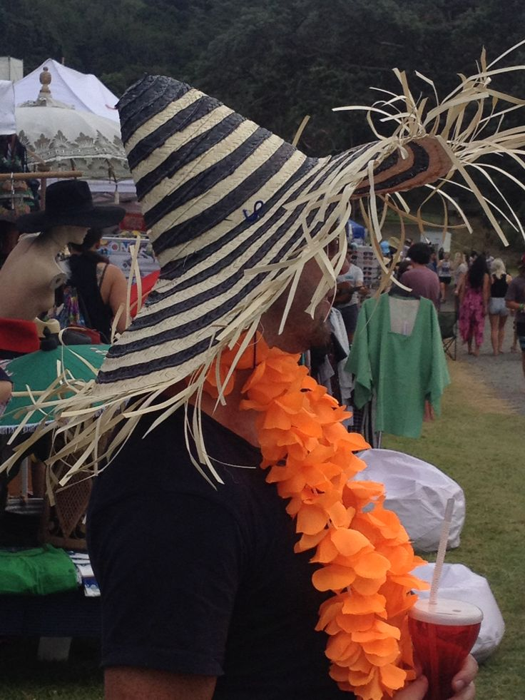 Mexican striped hat with flower wreath