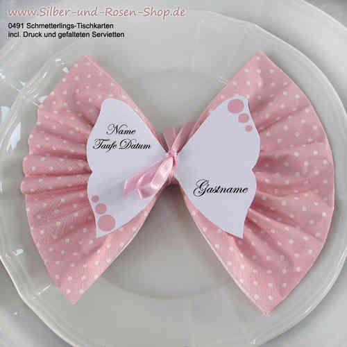 Schmetterlings-Tischkarten mit Druck +Servietten rosa