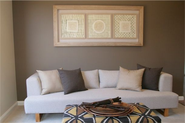 Custom made three-seater couch in neutral tones to compliment Native Australiana Decor theme