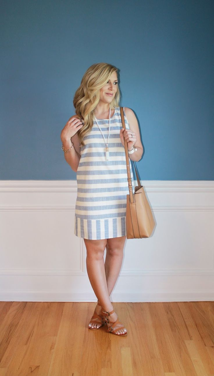 Outfitted411: Nautical Vibes...striped shift dress, strappy heels, shoulder bag, summer fashion, outfits