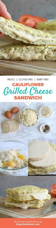 If your lunch is missing some ooey-gooey goodness, look no  further than this baked cauliflower grilled cheese sandwich oozing with  melted dairy-free cheese. Get the full recipe here: http://paleo.co/caulicheesesammie