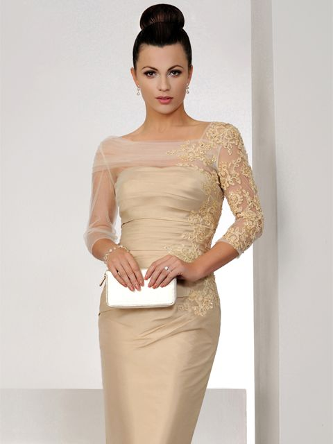 This elegant light gold Irresistible dress has a silk effect fabric with beautiful embellishment on the lace organza sleeves.. Product code IR1275. View more Mother of the Bride / Groom dresses from our Irresistible collection at: http://www.baroqueboutique.co.uk/mother-of-the-bride-south-wales/ Photographs courtesy of: http://www.irresistibleuk.com/