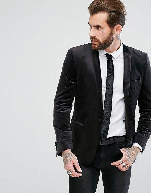 Design Skinny Blazer In Black Velvet Summer Party Outfit Velvet