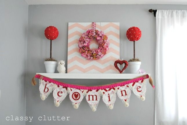 Valentine's Mantel - all DIY! Cute!