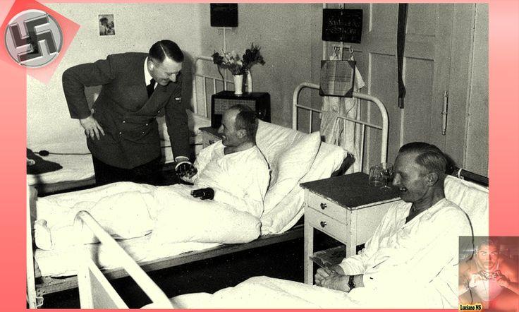 Mr. Adolf Hitler saluting wounded soldiers.      Herr Adolf Hitler grüßen verwundeten Soldaten.