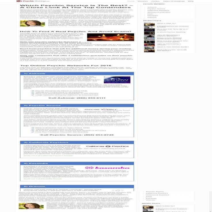 Psychic Ratings provides a perfect guide on how to find a real Psychic Readings Online and avoid scams. Also provides several info about Online Psychic Readings. http://www.psychic-ratings.com