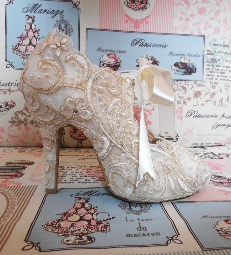 Design 'REGENCY' - embellished with lace, gold embroidery, pearls and Swarovski elements.  Soft leather insoles - Nicky ROX Shoe Designs