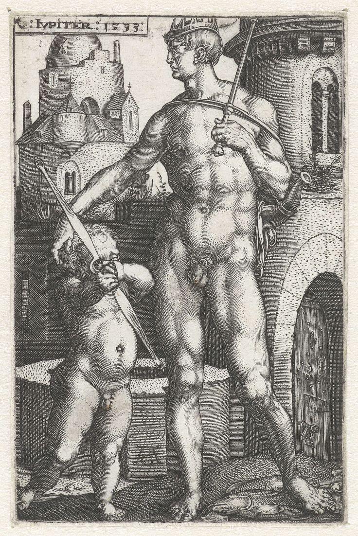 Heinrich Aldegrever | Jupiter, Heinrich Aldegrever, 1533 | Jupiter, naakt en van voren gezien, met een staf in de hand. Zijn andere hand op het hoofd van een kind met een gespannen boog. Een uit een serie van zeven prenten met goden die de planeten verbeelden.