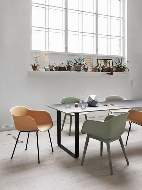 The plastic shell chair has been updated with a fully recyclable equivalent. Muuto
