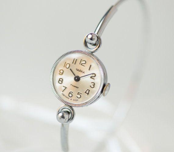 Cocktail Women's Watch, lady's watch bracelet, tiny woman watch wrist ring, silver shade party watch her, Soviet fashion watch, petite watch