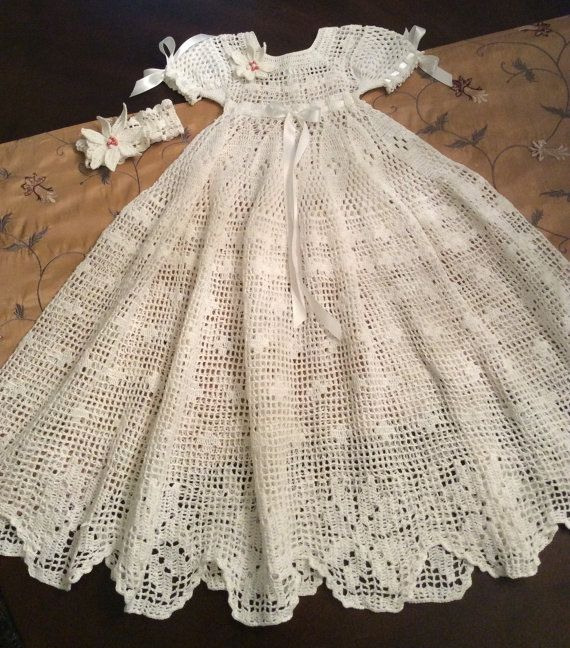 Filet Crochet Floral Edge Christening Gown And Headband Pattern Delectable Crochet Christening Gown Pattern