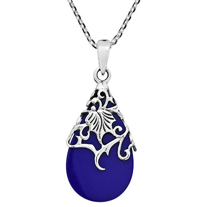 Fine Jewelry Dyed Blue Lapis Sterling Silver Teardrop Pendant Necklace YCrXf