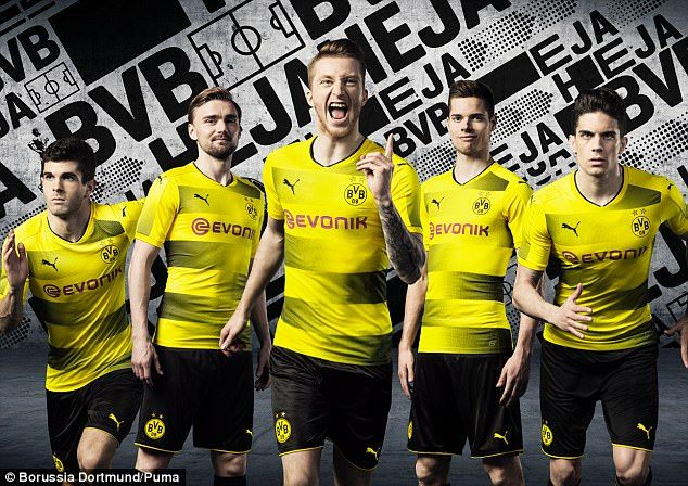 Borussia Dortmund have unveiled their new kit for next season, modelled by (left to right) Christian Pulisic, Marcel Schmelzer, Marco Reus, Julian Weigl and Marc Bartra