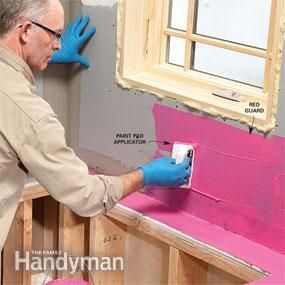Pro Tile Tips: before doing anything in a room where walls can get wet put a water resistant behind it to ensure no mold can get to the dry wall. Genius!