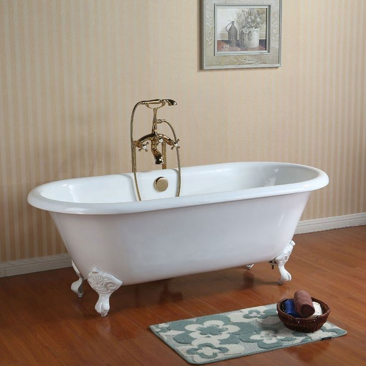 randolph morris 66 inch cast iron double ended clawfoot tub no faucet drillings