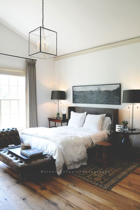 Kelly Martin Interiors - Blog - Serene Slumber ***** bedroom, interior design, home, decor, serene, grey, clean, eclectic, modern, mid century modern, contemporary, black, white, monochromatic, naturalistic, calm, vintage, rustic, retreat, bed, nightstand, lighting, pendant, gallery, wall, brick, bedding