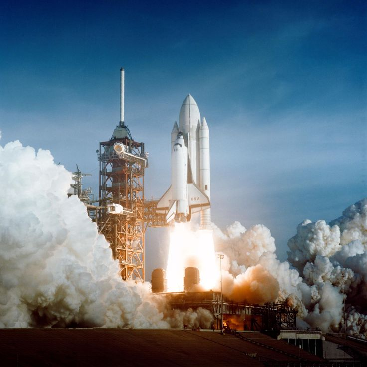 S81-30498 - April 12, 1981 - After six years of silence, the thunder of manned spaceflight is heard again, as the successful launch of the first space shuttle ushers in a new concept in utilization of space. At Pad 39A, just seconds past 7 a.m., carries astronaut John Young and Robert Crippen into an Earth-orbital mission scheduled to last for 54 hours, ending with unpowered landing at Edwards Air Force Base in California.