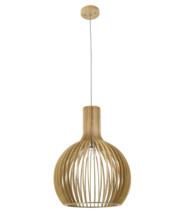 Malmo 1 Light 450mm Pendant in Natural Wood | Modern Pendants | Pendants | Gallery