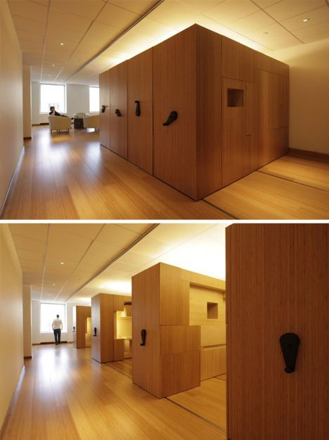 Variable living: multiple functions in one room with modular rolling components.