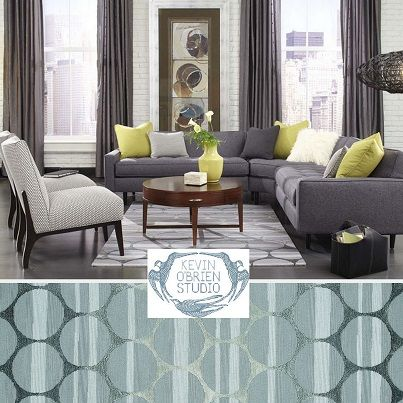 Capel Rugs / Kevin Ou0027Brien Collection / Tuscan Sun / Blue Grey With Pop