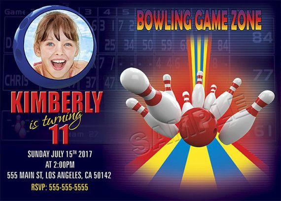 Bowling invitation Bowling birthday invitation by BogdanDesign