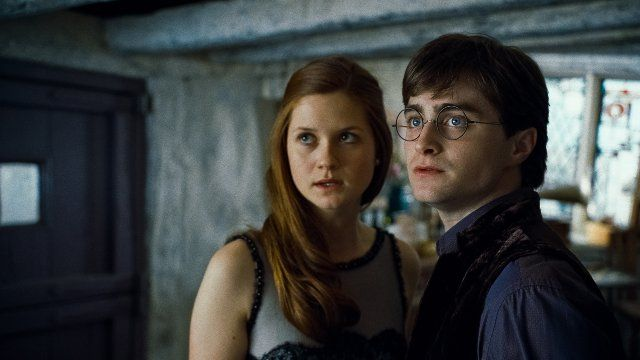Ginny Wealey (Bonnie Wright) and Harry Potter (Daniel Radcliffe) in Harry Potter and the Deathly Hallows: Part 1 (2010)