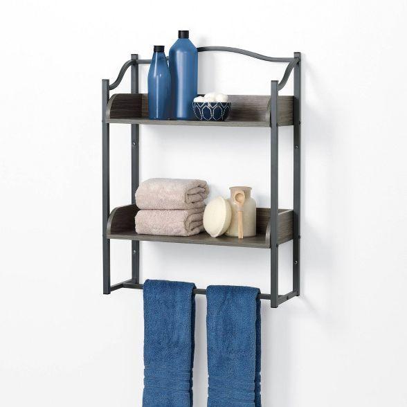 Bathroom Decorative Shelf Gray Zenna Home In 2020 Bathroom Wall Shelves Wall Shelves Shelves