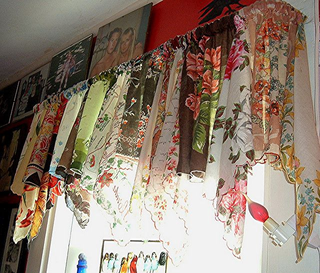 vintage hankie curtain: sew alternating one straight, one cornered and use enough to gather at top