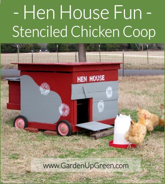 Hen House Fun using Stencils on the Chicken Coop