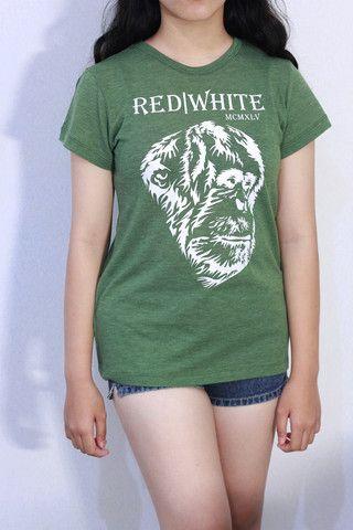 Orangutan Silhouette in White – Red|White1945