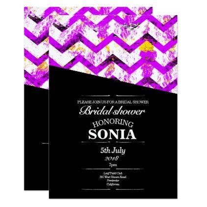 Black and pink Chevron Bridal Shower Wedding Card - invitations custom unique diy personalize occasions